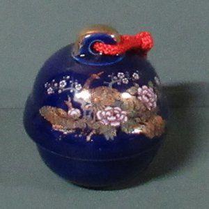 Vintage Kutani Cobalt Blue Glass Bell w/Peacock